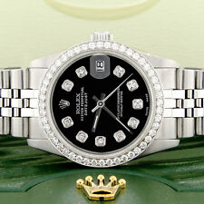 Rolex Datejust 31mm S/S Jubilee Women's Watch with Black Dial & Diamond Bezel