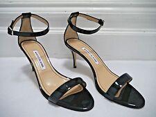 MANOLO BLAHNIK $725 Chaos black patent leather heel sandals Italian 40 WORN ONCE