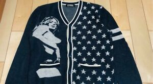 HYSTERIC GLAMOR Star x Girl Cardigan Men's M size Navy x White Cute Used #M4558