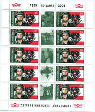 Austria 2005 50th anniv armed forces sheet of 10 stamps and 5 labels fine used