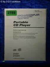 Sony Manual D E01/EJ01 CD Player(#2789)