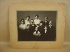 Vintage 8x10 Portrait of Husband Wife & Eight Children 1904s Circa