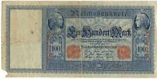 BILLET BANQUE ALLEMAGNE GERMANY DEUTSCHLAND 100 M 1910 un manque bas gauche 950