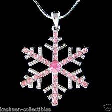 Big w Swarovski Crystal Pink SNOWFLAKE Snow Xmas bridal Wedding Pendant Necklace