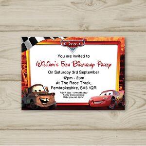 Disney Cars Lightning Mcqueen Birthday Party Invitations Personalised