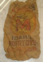 Old Vintage Big M Brand Idaho Potatoes Advertising Burlap Feed Sack / Bag (A9)