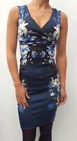 New Lipsy Blue Dark Floral Bodycon Dress UK Sizes 4-16