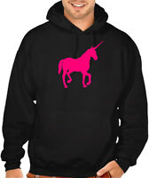New Men's Neon Pink Unicorn Black Hoodie Magical Horse Fantasy Fairy Galaxy V394