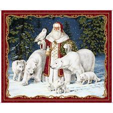 All Is Calm Arctic Santa Fabric Panel Christmas Gold Metallic Premium Cotton