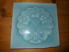 One Antique Arts and craft tile Art Nouveau Sherwins blue