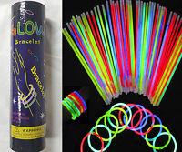 """100 - 1000 X 8"""" Glow Sticks Bracelet Necklaces light Neon Party Multi Colors"""