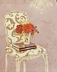 New Purple Box Chair with Books Flowers Design 11 X 7 1/2 X 4 1/2