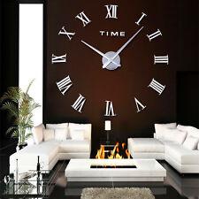 Design Wanduhr silber 100 cm 3 D XXL Uhr Moderne Selbst gestaltbare römishe Zahl
