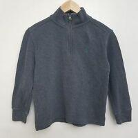 Polo Ralph Lauren Boys 1/2 Zip Sweater 8 Gray Cotton Long Sleeve Pullover Small