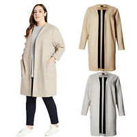 ex M&S Collection Ladies Women's Wool Blend Open Coat Jacket Shawl