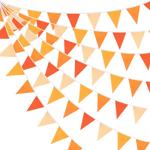 10M/32Ft Triangle Flag Fabric Banner Cotton Pennant Garland Cloth Bunting for Fa