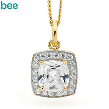 Classic Natural 7X7MM Simulated Diamond 9k 9ct Solid Yellow Gold Drop Pendants