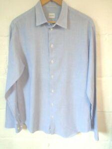 "Armani Collezioni blue striped cotton linen shirt L/42""chest"