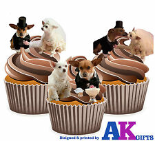 12 X Cute Chihuahua Bride & Groom Wedding Mix EDIBLE CUP CAKE TOPPERS STAND UPS