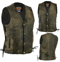 New Men's Motorcycle Harley Style A Grade Premium Distressed Leather Lined Vest