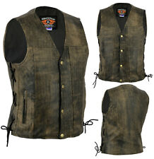 New Mens Motorcycle Harley Style A Grade Premium Distressed Leather Lined Vest