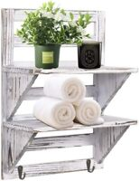 2-Tier Organiser Rack Bathroom Shelf Toilet Wall Mounted Floating Shelves 2 Hook