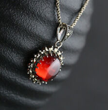B06 Pendentif Ovale Rouge Zircon Folklorique Style Antique Sterling Argent 925