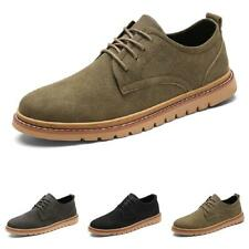 Mens Round Toe Lace up Non-slip Oxfords Flats Leisure Low Top Work Leather Shoes
