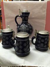 Marzi & Remy Blue Cobalt Lidded Pitcher And (3) Lidded Mugs.