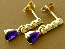 E038 Genuine  9ct Solid Yellow Gold NATURAL Amethyst  & Opal Stud DROP Earrings