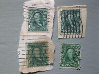 Benjamin Franklin RARE ANTIQUE 1907 One 1 CENT STAMP - Lot of 4