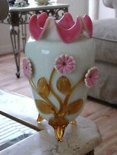 Victorian Antique Art Glass Hodgetts, Richardson & Son Opal and Ruby Lined Vase.