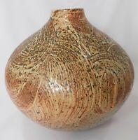 Stoneware Large Carved Textured Pot Signed Jens