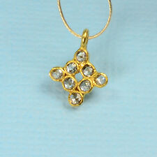 9mmx10.5mm 18k Solid Yellow Gold Rose Cut Champagne Diamond Charm Pendant