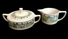 RARE Hand Painted Signed W A Pickard Dutch Scene China Sugar & Creamer F M James