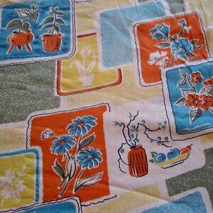 50cm x 93cm Novelty Orange Blue Retro Vintage Cotton Skirt Sewing Fabric 1950s