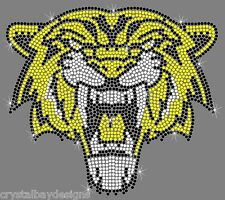 Tiger Face Head Mascot Sport Mom Football Rhinestone Bling Transfer Hot Fix
