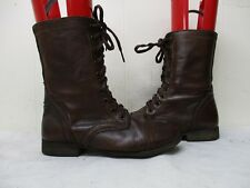 Steve Madden Troopa Mahogany Leather Zip Lace Military Fashion Boots Size 6.5 M