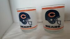 Chicago Bears NFL Vintage 1980's Mobil Gas Tumbler, Set of Two Frosted Glass