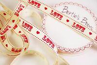 Bertie's Bows Love Vintage Font 16mm Grosgrain Ribbon - 1m & 2m - Multi Discount