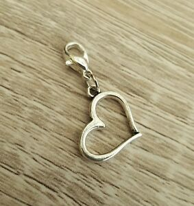 Silver Heart Charm Hearts Love Clip On Bracelet Phone Bag Charms Gift Present