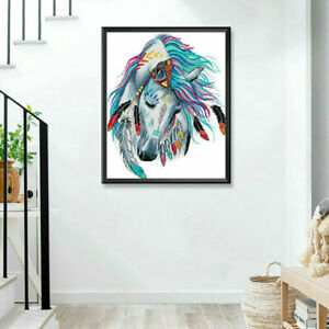 14 Count Rainbow Horse Counted Cross Stitch Kit DIY Craft Aida Home Decor