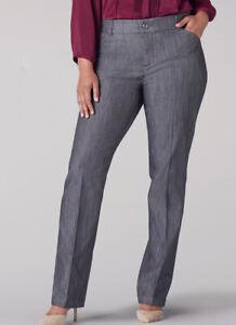 Lee Pants Women's Flex Motion Straight Leg, Carbon Rinse Plus Size 28W Petite