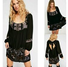 Free people size S embroidered longsleeve bohemian dress side pockets oversized