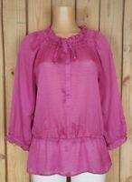 LOFT Ann Taylor Womens Size Medium 3/4 Sleeve Shirt Geo Dot Peplum Button Top