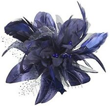 "Elegant ""NAVY""Flower Feather On A Comb Hair Fascinator Occasions Wedding Ascot"