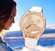 Damenuhr SCHMETTERLING Damen Leder weiß Armbanduhr Mode gold Strass analog Uhr