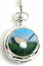 Golf ball and club Scene Pocket Watch Gift Boxed FREE ENGRAVING Ideal Prize