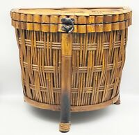 """Vintage Bamboo Woven Rattan Footed Storage Basket Hinged Lid 14.75"""" x 16"""" 3-Leg"""