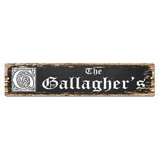 SPFN0433 The GALLAGHER'S Family Name Street Chic Sign Home Decor Gift Ideas